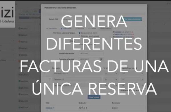 Video cómo crear varias facturas desde una reserva