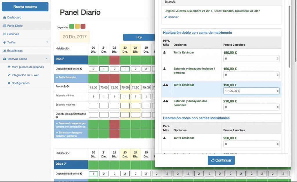 motor de reservas para hoteles iBizi panel diario
